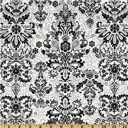 Black, White & Currant III Damask White