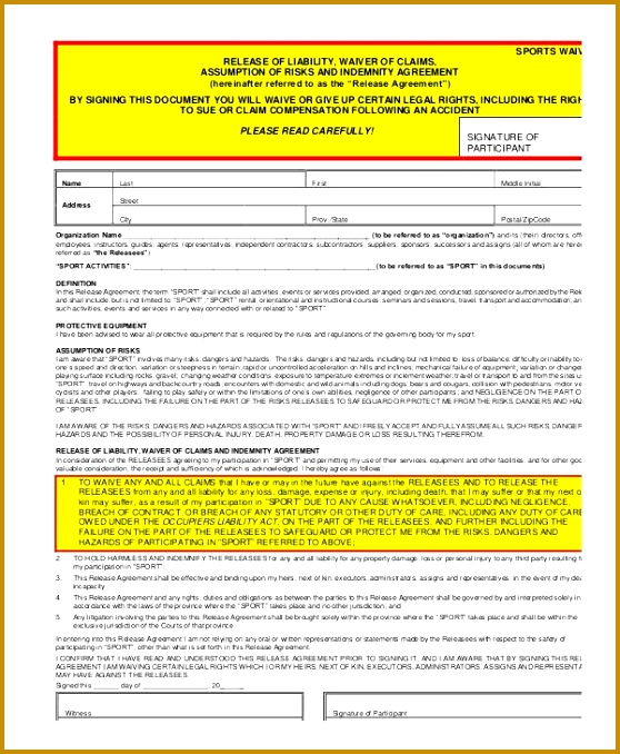3 Accident Waiver and Release Of Liability form Template FabTemplatez - free general release of liability form template