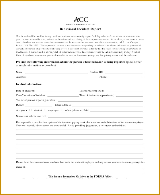 behavioral incident report - Onwebioinnovate - free incident report form