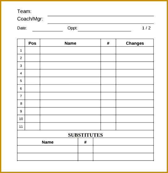 3 Blank Football Team Sheet Template FabTemplatez