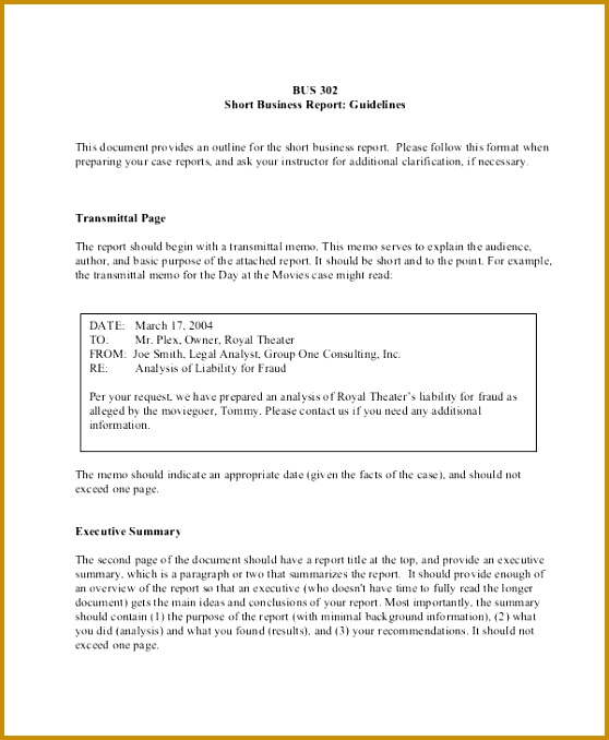 Business Report Outline Template 01428 formal Reports Samples