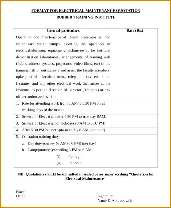 6 Contractor Quotation format FabTemplatez