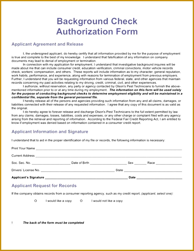 Background Check Authorization Form Template Gallery - Template - background check release form