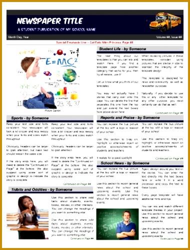 6 Elementary School Newspaper Template FabTemplatez