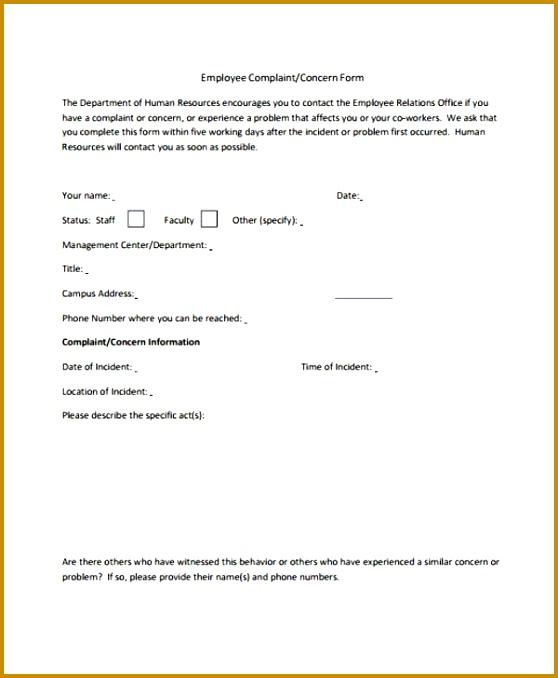 5 Employee Complaint form Template FabTemplatez