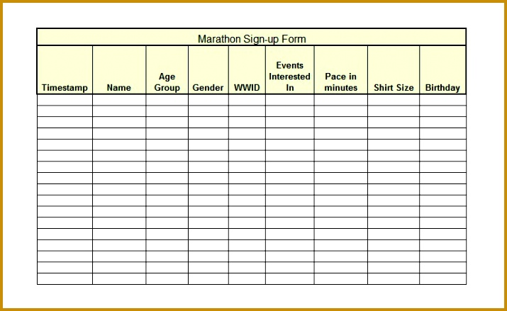Monthly Sign Up Sheet Template oakandale