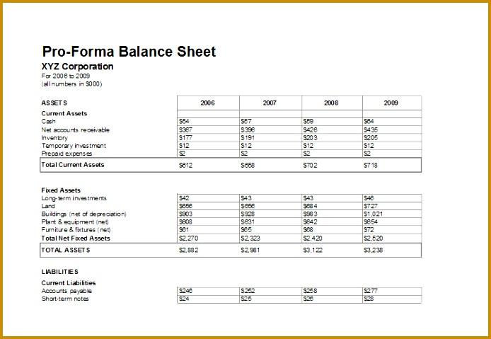 6 forecast Balance Sheet Template FabTemplatez
