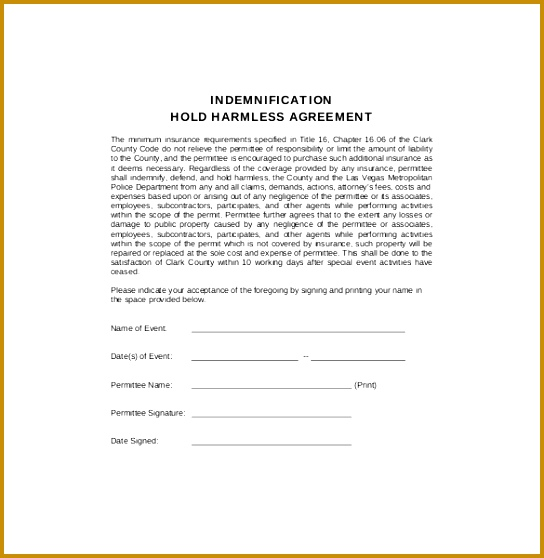 7 Free Indemnity form Template Download FabTemplatez - indemnity form template