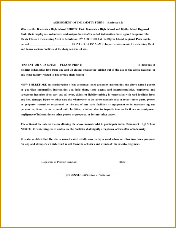 Waiver Form Template Gallery - Template Design Ideas - indemnity form template