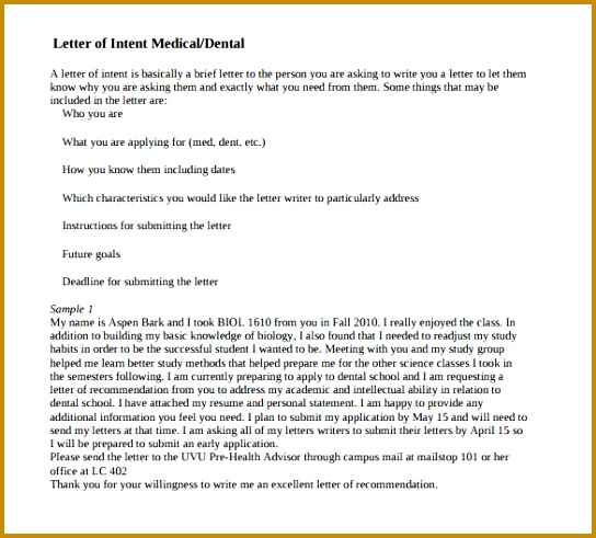 How To Write A Letter Of Intent For Medical School Images - Letter