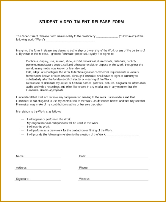 video release forms template - Selol-ink - Talent Release Form Template