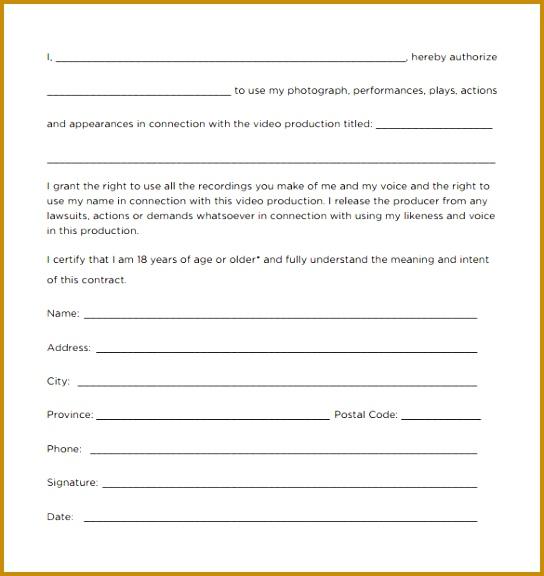 Sample Actor Release Form - Design Templates - actor release form