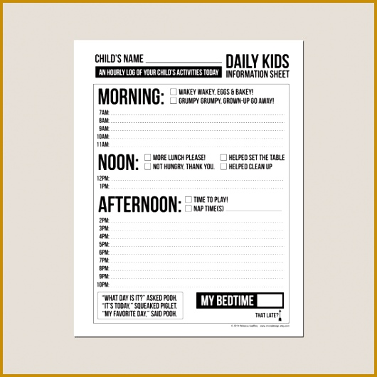 Nanny Log Sheet Templates Image collections - Template Design Ideas - babysitting information sheets
