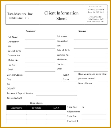 Tax Client Information Sheet Template Images - Template Design Ideas - information sheet template word