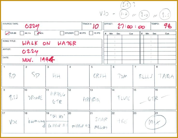 recording track sheet - Kubreeuforic