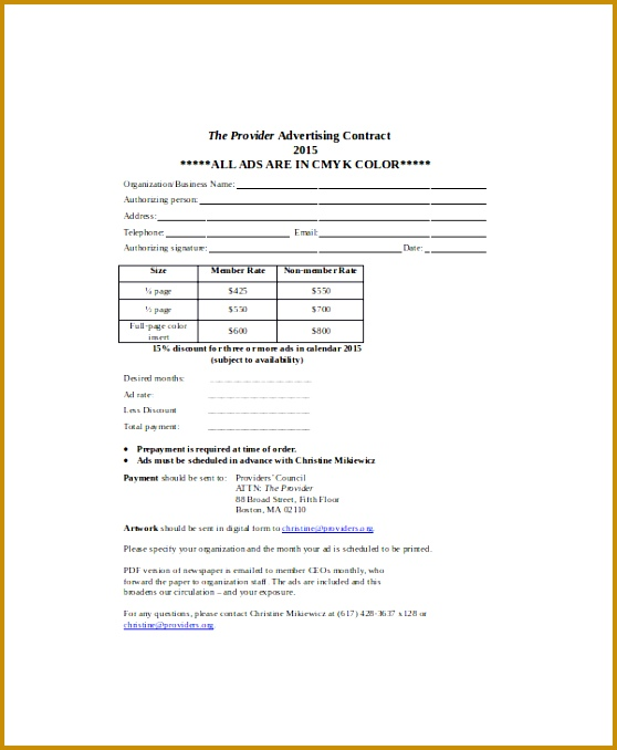 Sample Advertising Contract Template - Design Templates