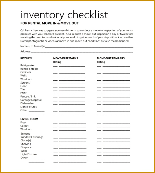 5 Tenant Check Out form Template FabTemplatez - free landlord inventory template