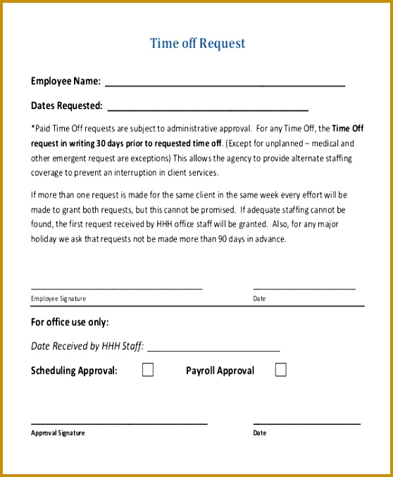 time off request form sample - Minimfagency - time off request forms