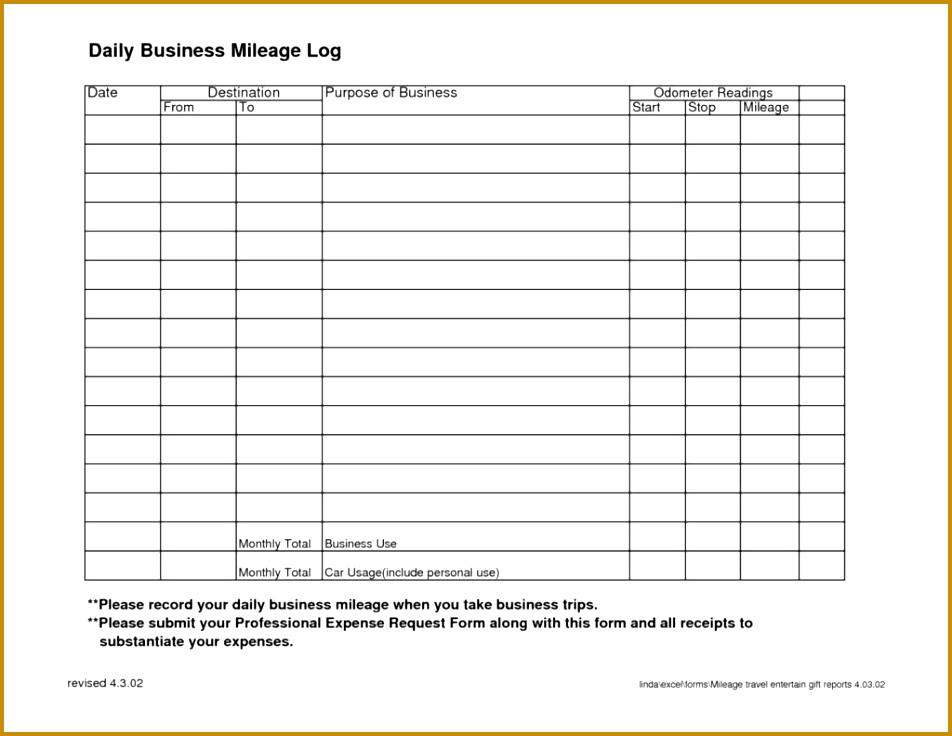 7 Mileage Log Tracker Template FabTemplatez - trip log sheet
