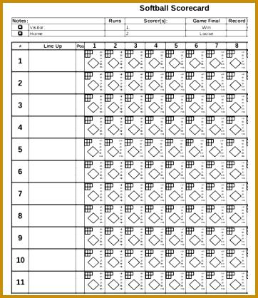 7 Printable Baseball Scorecard Template FabTemplatez - printable baseball score sheet with pitch count