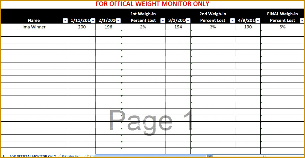 4 Weight Loss Spreadsheet Template FabTemplatez - biggest loser spreadsheet template