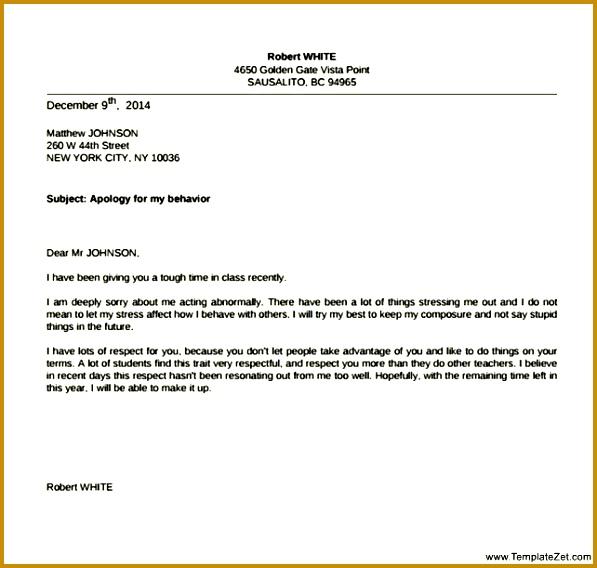 7 Apology Letter to Teacher for Misbehavior FabTemplatez