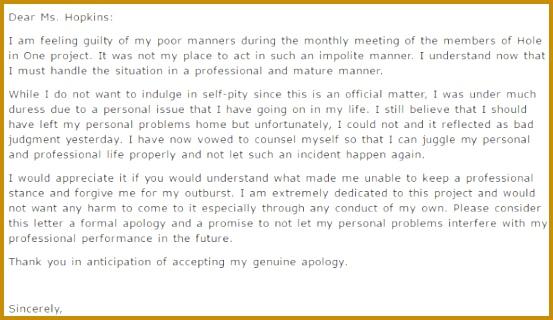 4 Personal Apology Letter FabTemplatez
