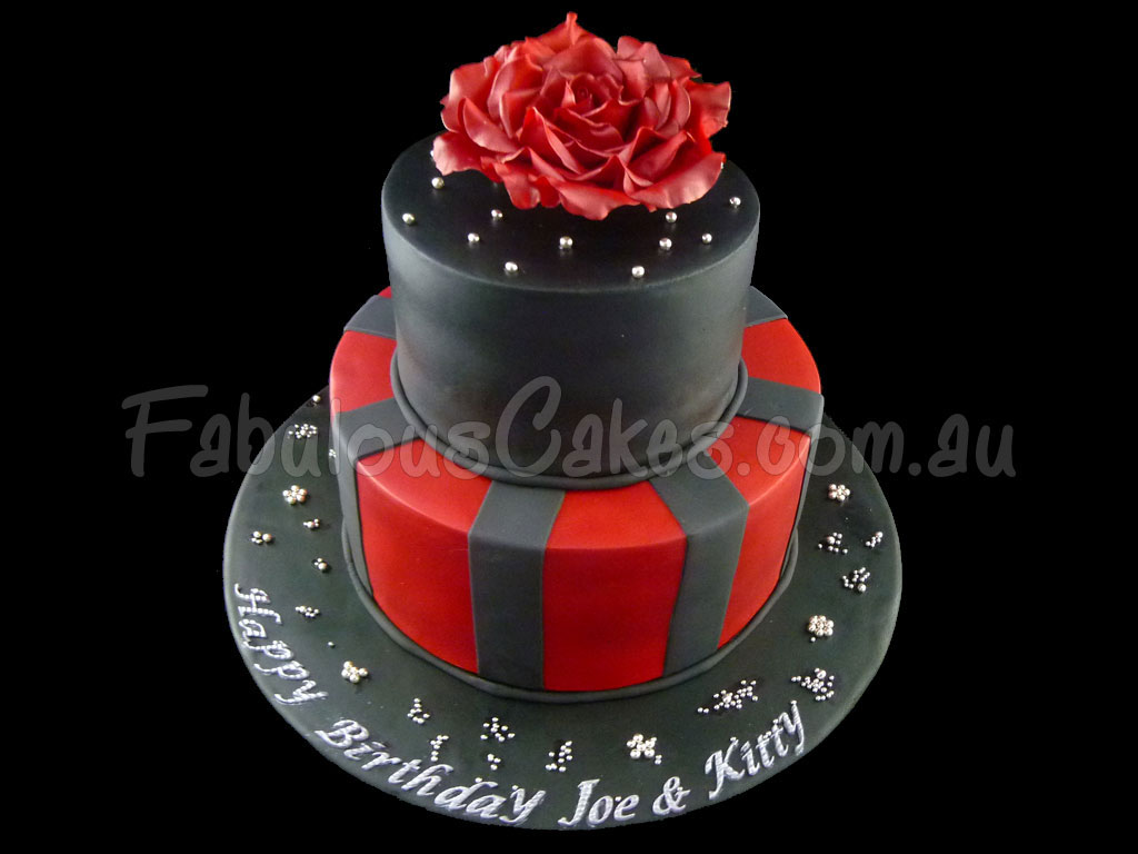 Black And Red Birthday Cakes Fabulous Cakes
