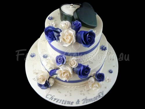 Engagement Cake with Blue Roses