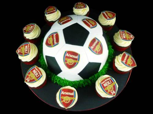 Soccer Ball Cake with Cupcakes