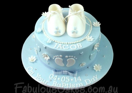 Baptism Cake with Booties