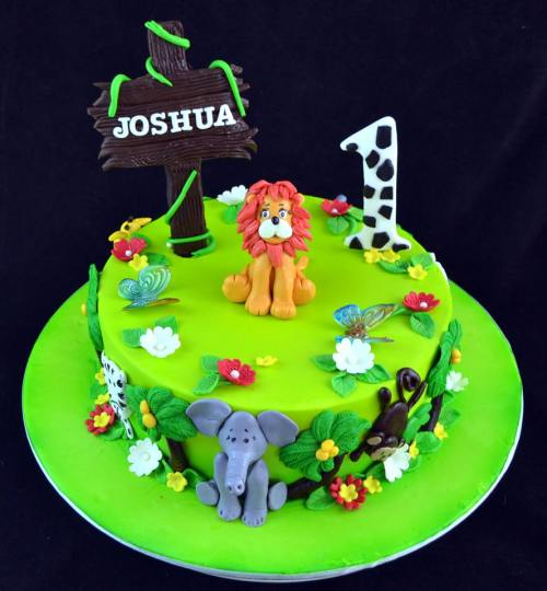 1st Birthday Forest Theme Cake
