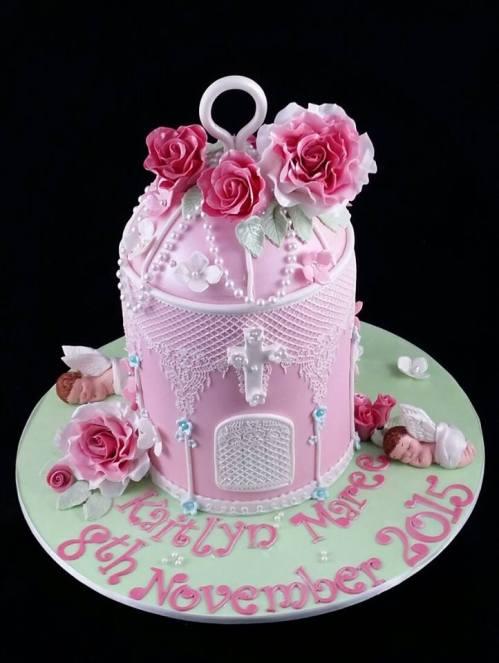 Bird Cage Christening Cake