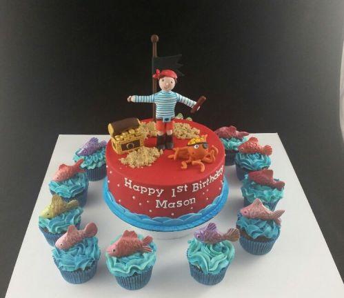 Pirate Theme Cake And Cupcakes