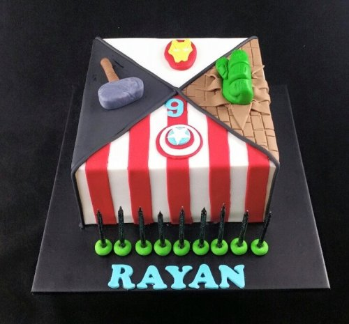 Superhero theme cake