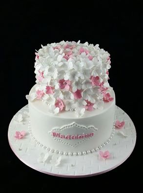 White and pink hydrangeas christening cake