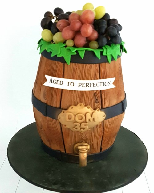 Aged To Perfection Wine Barrel Cake