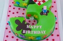 Peppa Pig Number 3 Shape Cake