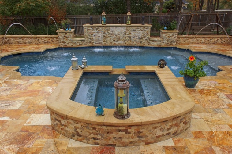 10 different stunning pool shapes and designs for Artificial waterfalls design