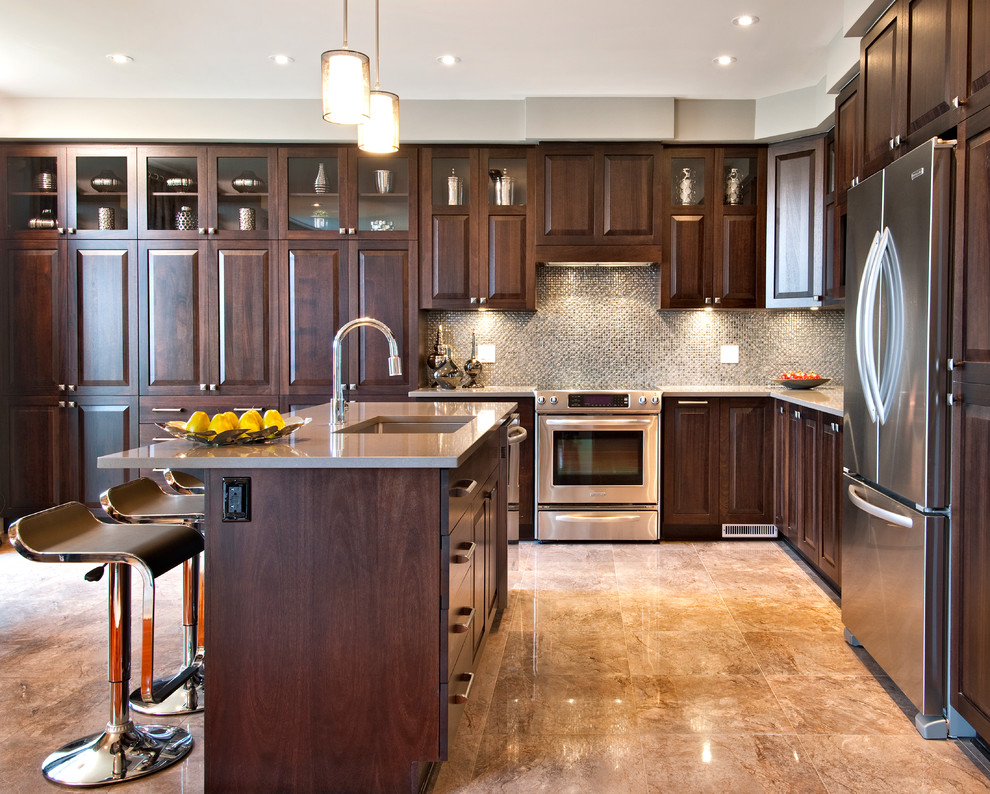 Contemporary Granite Kitchen Countertops Colors With White Cabinets 10 Black wood Kitchen Cabinets Designs