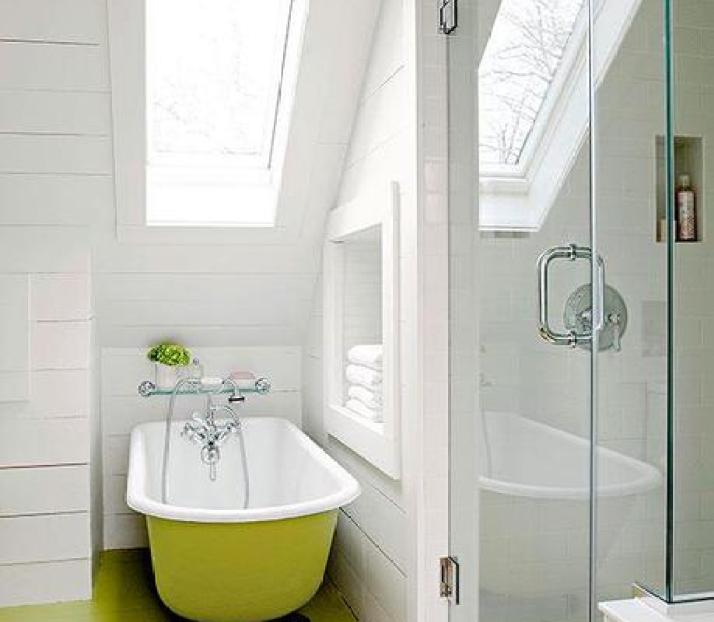 Pictures of small but stylish bathrooms for Yellow and green bathroom ideas