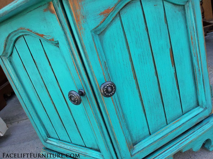 Rustic Turquoise Hexagon End Table - Facelift Furniture