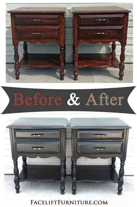 Distressed Black Nightstands Before After Facelift Furniture