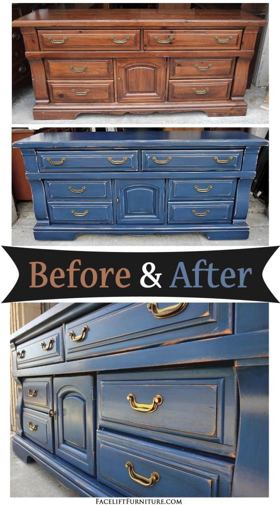 Distressed denim blue dresser before amp after facelift furniture