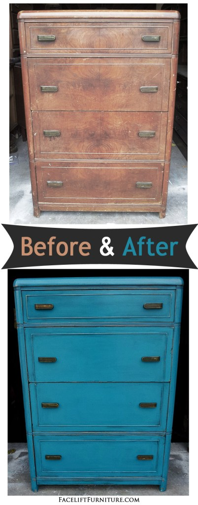 Peacock Blue Waterfall Chest Of Drawers Before After Facelift Furni