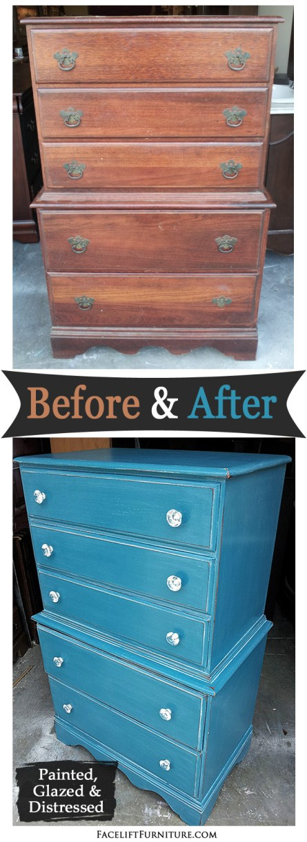 Highboy Chest In Peacock Blue Before After Facelift Furniture