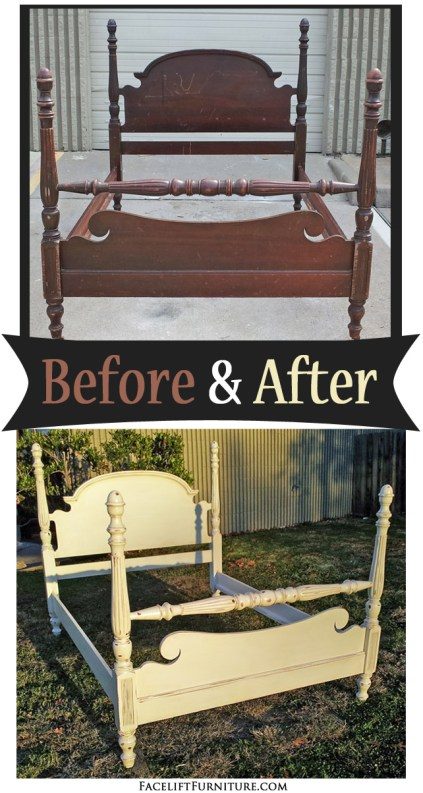 Poster bed in distressed off white before after for Diy poster bed