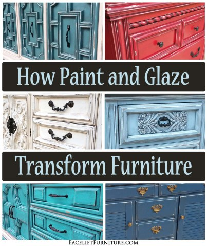 How paint and glaze transforms weary and worn furniture from the 60's, 70's and 80's. From Facelift Furniture's DIY Blog