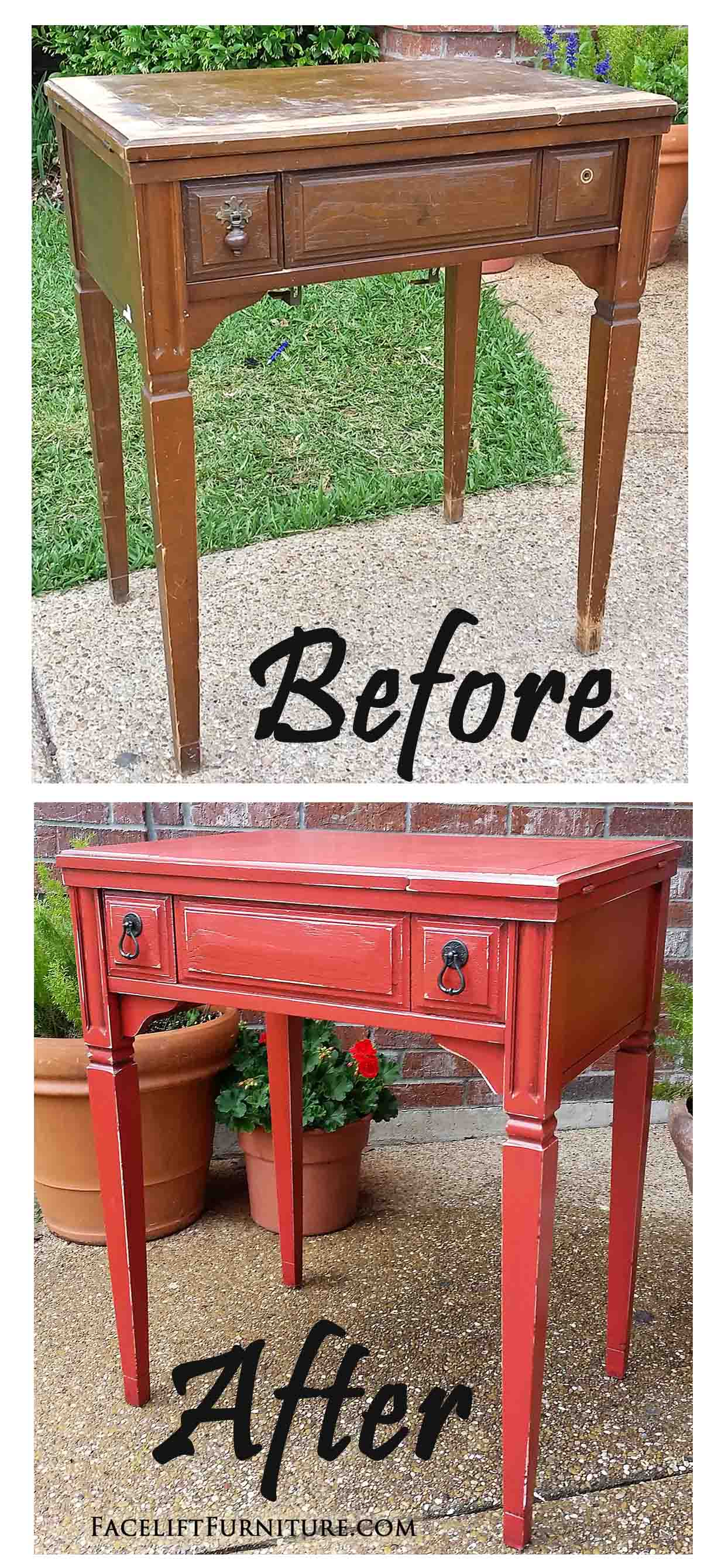 This Beat Up Old Sewing Table Was Given A New Life With Paint, Glaze And  Distressing.
