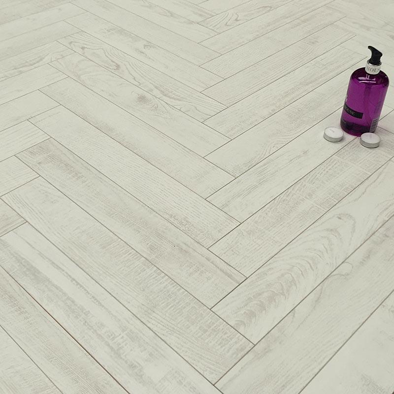 Prestige Herringbone True White 8mm Laminate Floor
